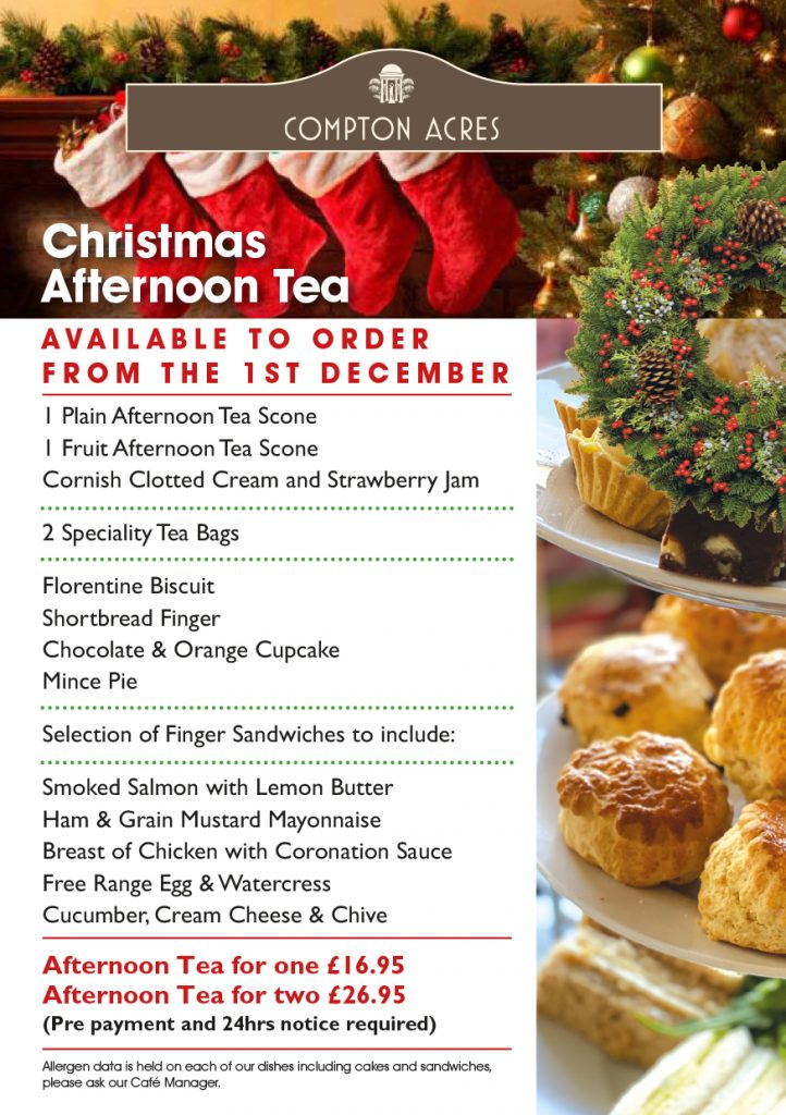 Christmas Afternoon Teas at Compton Acres, Poole Dorset