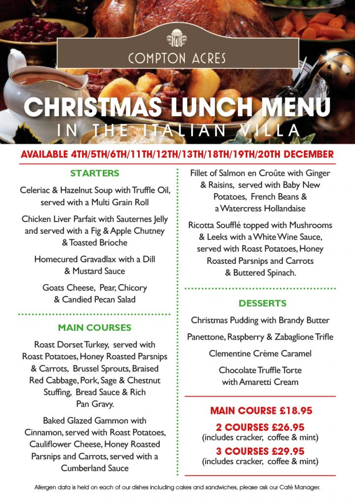 Christmas Lunch in The Italian Villa at Compton Acres