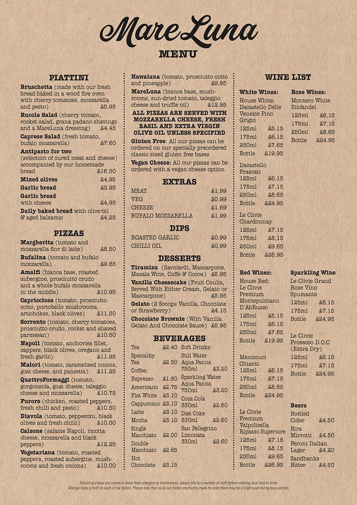 MareLuna Pizzeria Restaurant Menu at Compton Acres, Poole Dorset